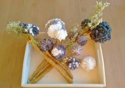 Flores con pompones para decorar