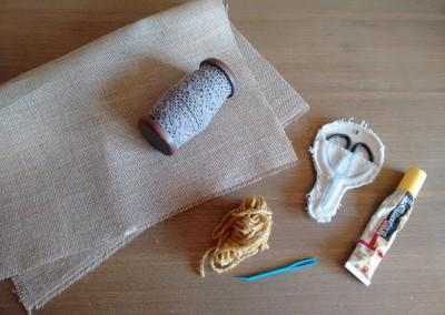 00 Tutorial cómo hacer mantelito rústico tela arpillera trizas y trazos - materiales