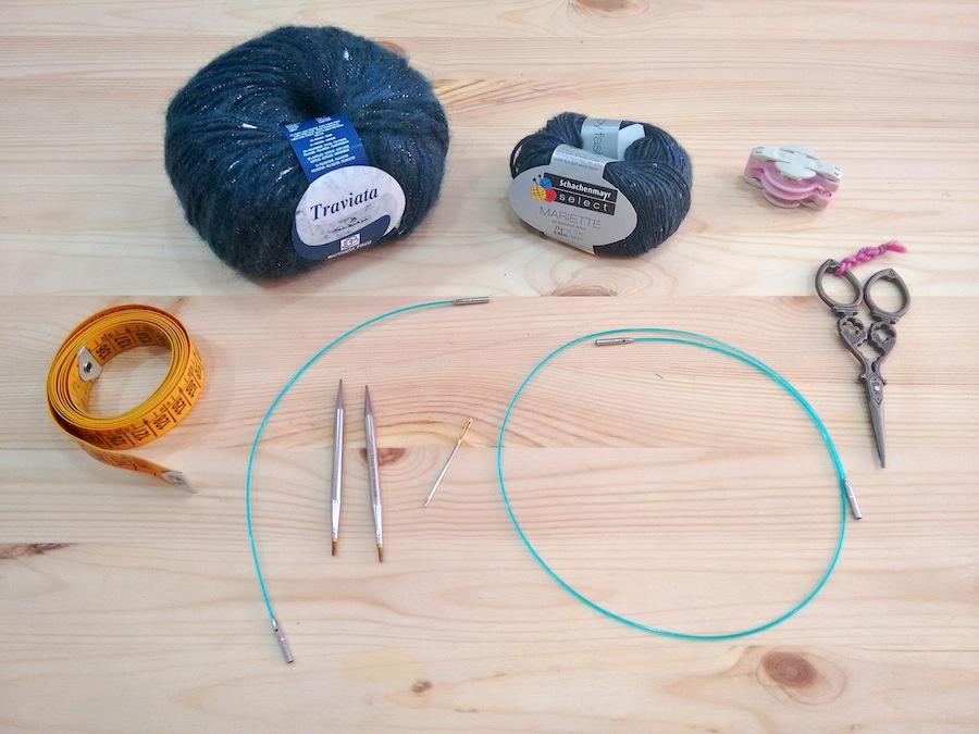Punto tejer paso a paso tutorial boina calada trizas y trazos materiales