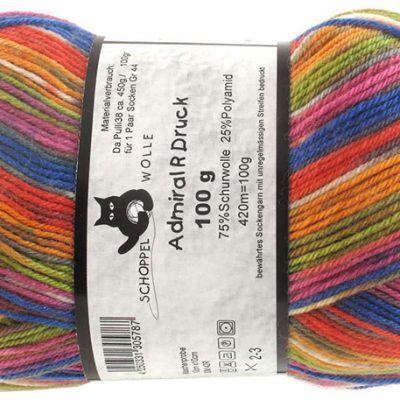 Admiral print continious 1744int Orange Red Blue 75% Virgin Wool, 25% Nylon ball