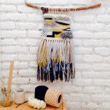Taller tapiz Trizas y Trazos amarillo y negro detalle