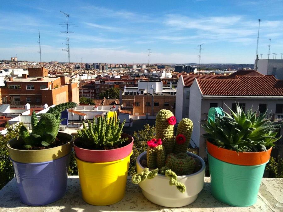 Ganchillo - amigurumi - cáctus en la terraza