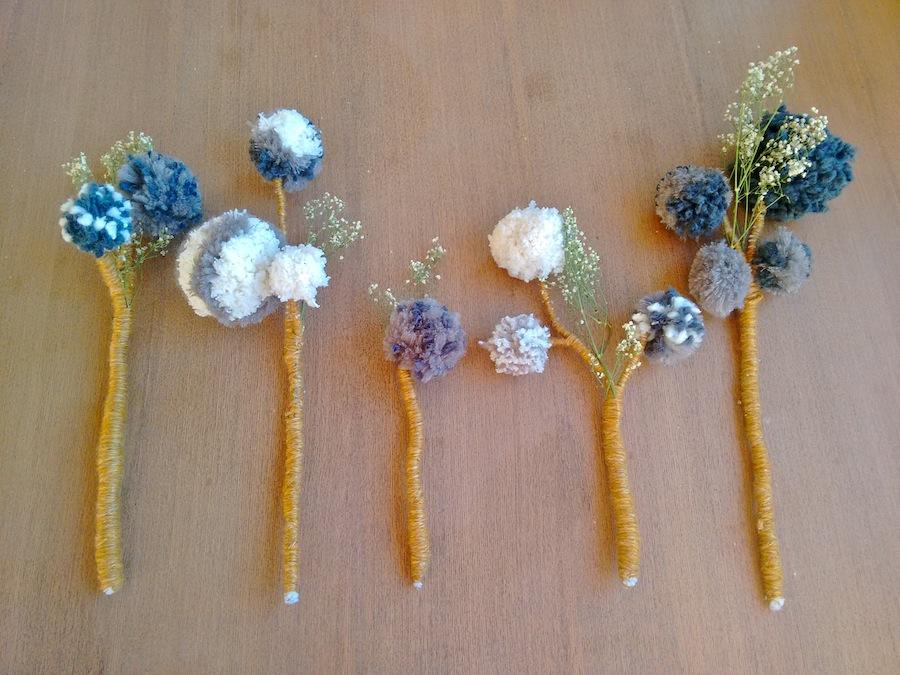 Tutorial cómo hacer flores con pompones de lana trizas y trazos