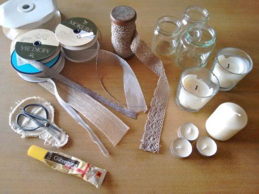 00 Tutorial cómo adornar velas cintas trizas y trazos - materiales