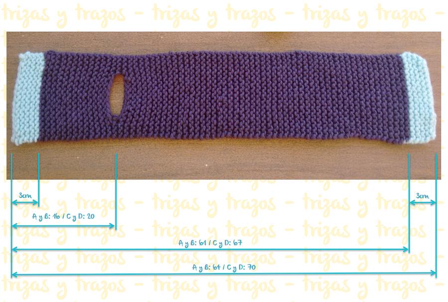07. Punto tejer paso a paso tutorial gorro y bufanda para bebé - Tejer bufanda medidas